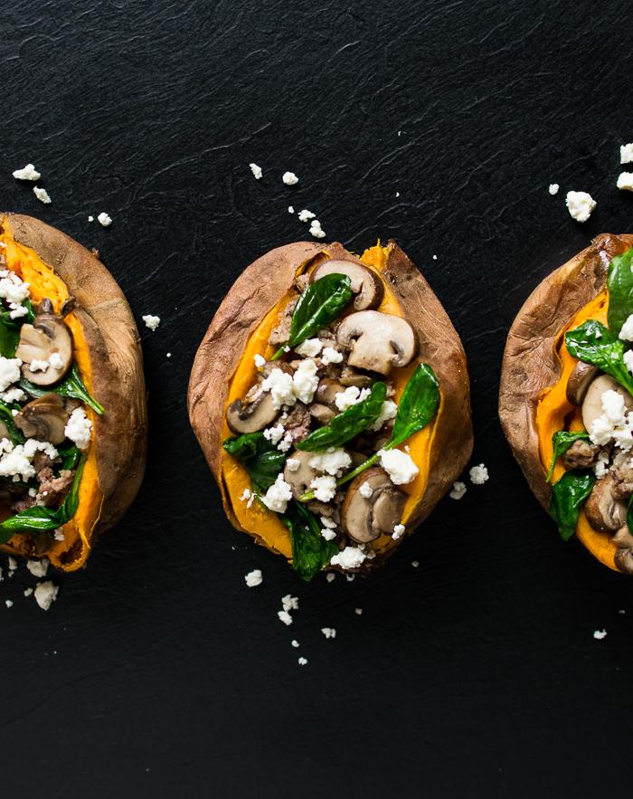 spinach and mushroom stuffed sweet potato