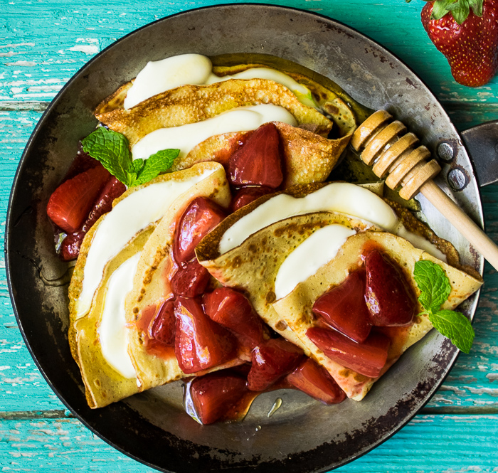 Chickpea Flour Crepes with Whipped Honey Goat Cheese | Reclaiming Yesterday