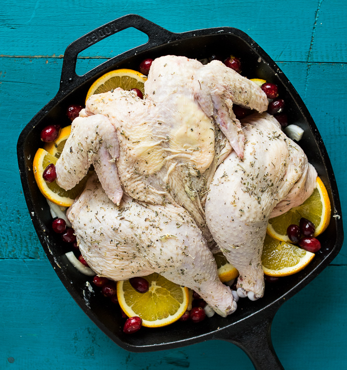 Orange Cranberry Spatchcock Chicken