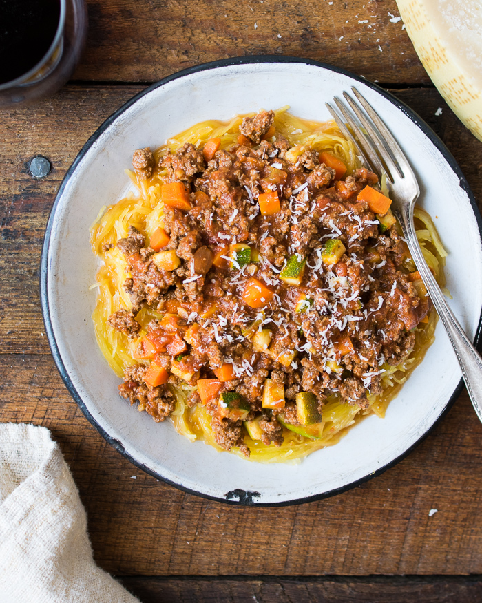 Shortcut Bolognese with Spaghetti Squash | Reclaiming Yesterday