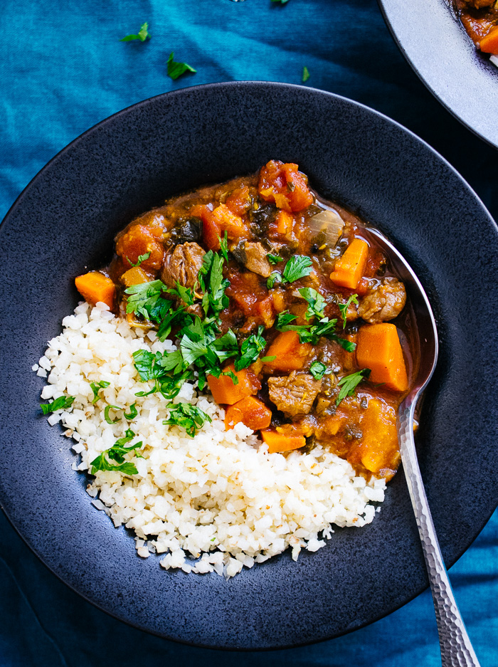 image of a bowl of Instant Pot Moroccan Lamb Stew | Reclaiming Yesterday