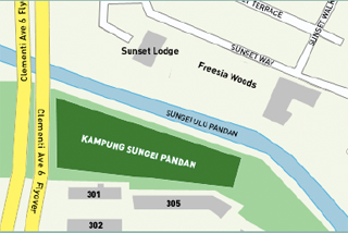 Kampung Sungei Pandan sits on land the size of two soccer pitches. It is located at Clementi Avenue 4, above a gas pipe that belongs to the Public Utilities Board. The collection of farm plots is bordered by HDB blocks, the Clementi Avenue 6 flyover and Sungei Ulu Pandan. It runs along the KTM Malayan Railway built on land belonging to Malaysia, thus making it difficult for Singapore's authorities to develop the site. Hence, the state has left it alone... or at least for now.