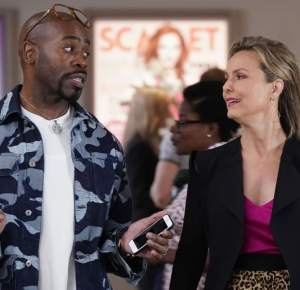 To the left - Oliver (Stephen Conrad Moore) talking to Jacqueline (Melora Hardin) at the right.