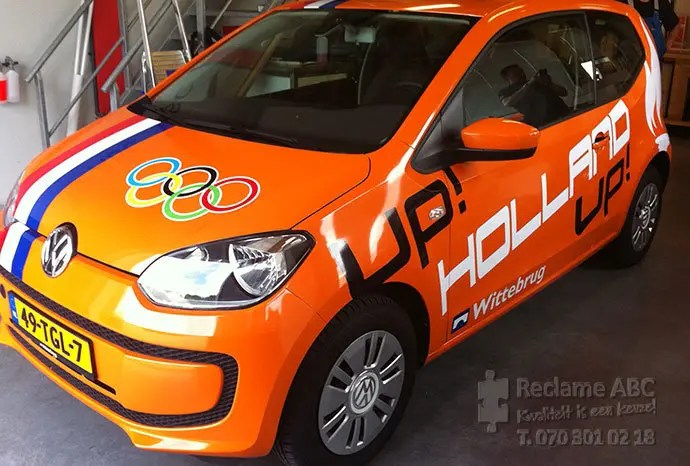 Reclame ABC car wrappen oranje volkswagen up hup holland hup