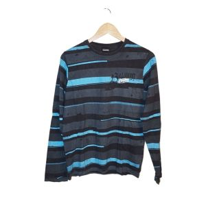 Camisola com riscas cinzas e azuis - reCloset roupa em segunda mão