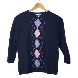 Camisola azul com losangos - reCloset roupa em segunda mão