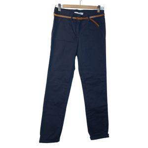 Calças azuis de corte clássico com cinto - reCloset roupa em segunda mão