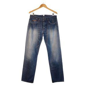 Calças de ganga azuis com duplo bolso traseiro - reCloset roupa em segunda mão