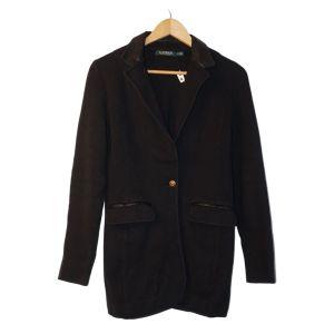 Casaco preto em malha com detalhes em napa - reCloset roupa em segunda mão