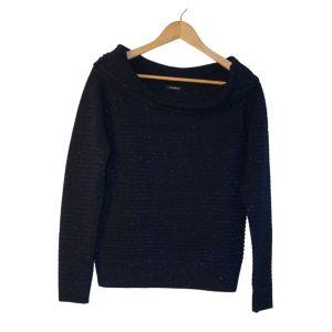 Camisola de malha azul e preta com brilho - reCloset roupa em segunda mão