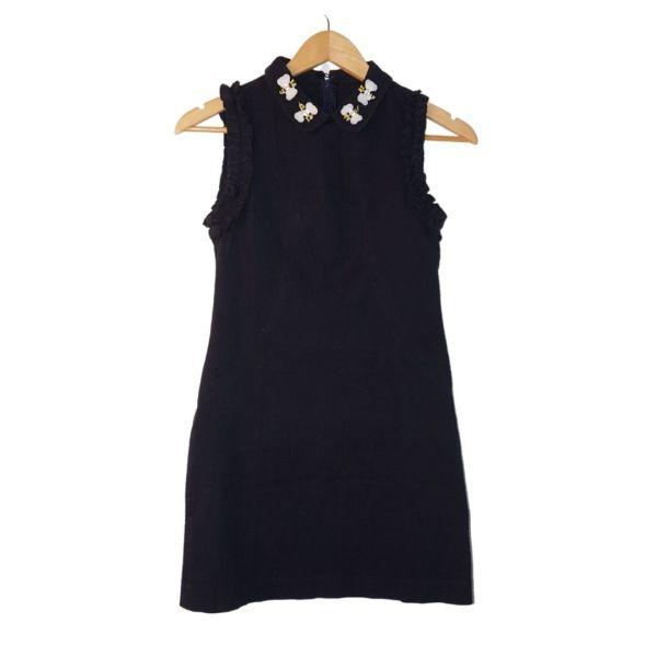 Vestido azul escuro com borboletas - reCloset roupa em segunda mão