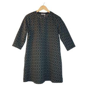 Vestido com padrão geométrico verde e preto - reCloset roupa em segunda mão