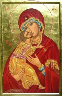 Vierge de Tendresse Icône écrite par une recluse