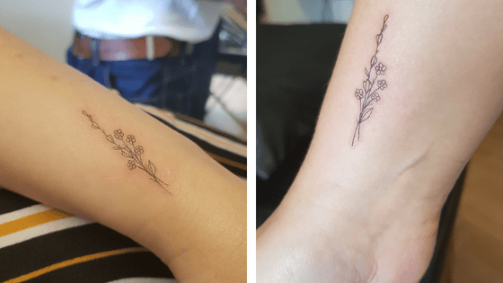 Lavender and flower minimalist tattoo