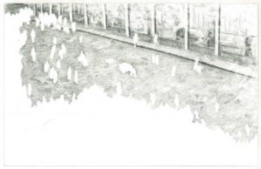 Dibujo Chalo Zurita marcha estudiantil