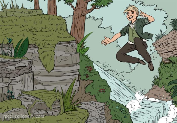 Robbie freerunning through the forest
