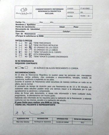 Der RMN-Fragebogen auf Spanisch.