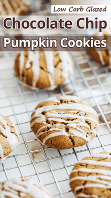 Low Carb Glazed Chocolate Chip Pumpkin Cookies