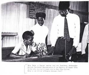 """What is the ethnical difference between them?"" Papuan teacher meets Upper Volta diplomat. From Voice of the Negroids of the Pacific to the Negroids Throughout the World (Papuan nationalist pamphlet, 1961)."