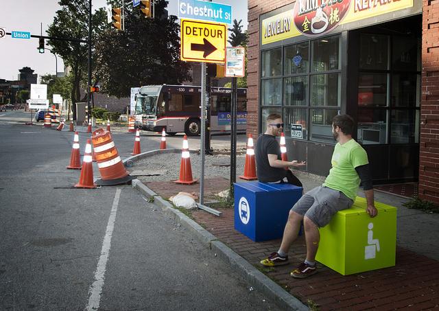 Monroe Ave bus stop cubes