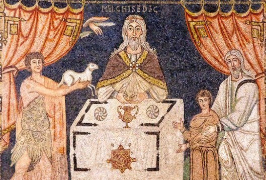 The Sacrifices of Melchizedek, Abel, and Abraham. Mosaic from the Basilica of Sant'Apollinare in Classe, Ravenna.