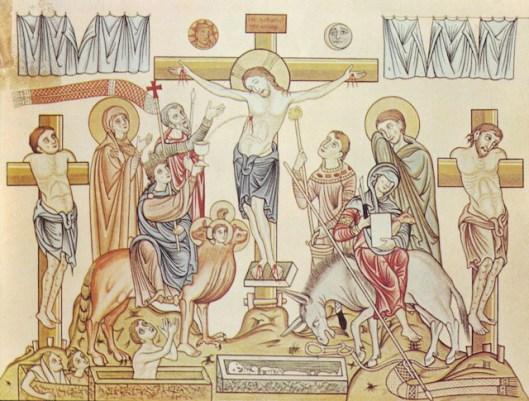 Hortus Deliciarum, Die Kreuzigung Jesu Christi, circa 1180 (source)