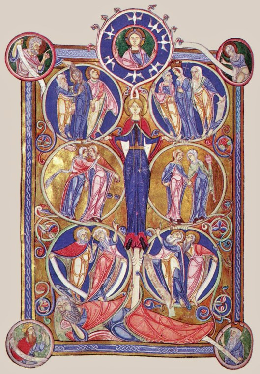 The Tree of Jesse, illumination on parchment by an unknown miniaturist in the 1140's, Lambeth Palace, London (source)