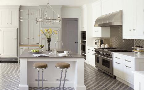 ασημενια κουζινα με μοτιβα