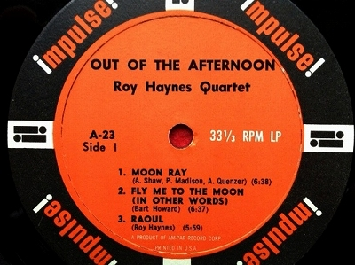 ロイ・ヘインズ ROY HAYNES QUARTET / Out of the Afternoon レコード