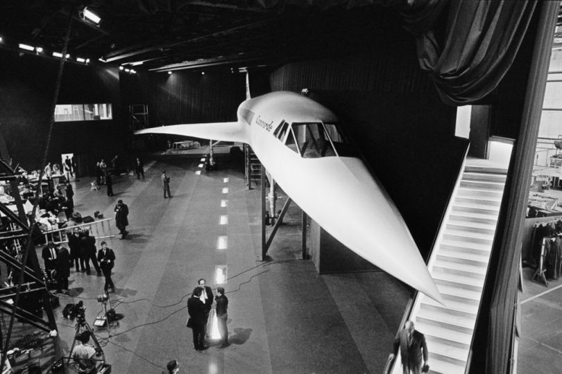 A full scale, wooden mock-up of the new Concorde supersonic airliner on display at the British Aircraft Corporation (BAC) works at Filton, Bristol, 1st March 1967. The model is a promotional exhibit and will be shown at the Paris Air Show at Le Bourget in June. (Photo by Daily Express/Hulton Archive/Getty Images)
