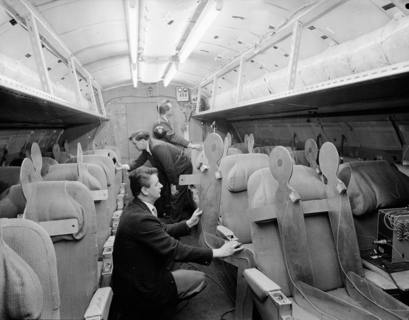 A team of designers examining the interior of Concorde, April 1964. (Photo by Chris Ware/Keystone Features/Hulton Archive/Getty Images)