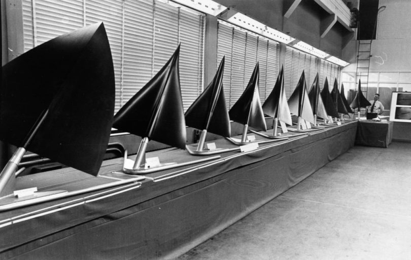 A model line up of the various designs suggested for the shape of Concorde, the eventual deign is at the far end of the row. (Photo by Central Press/Getty Images)