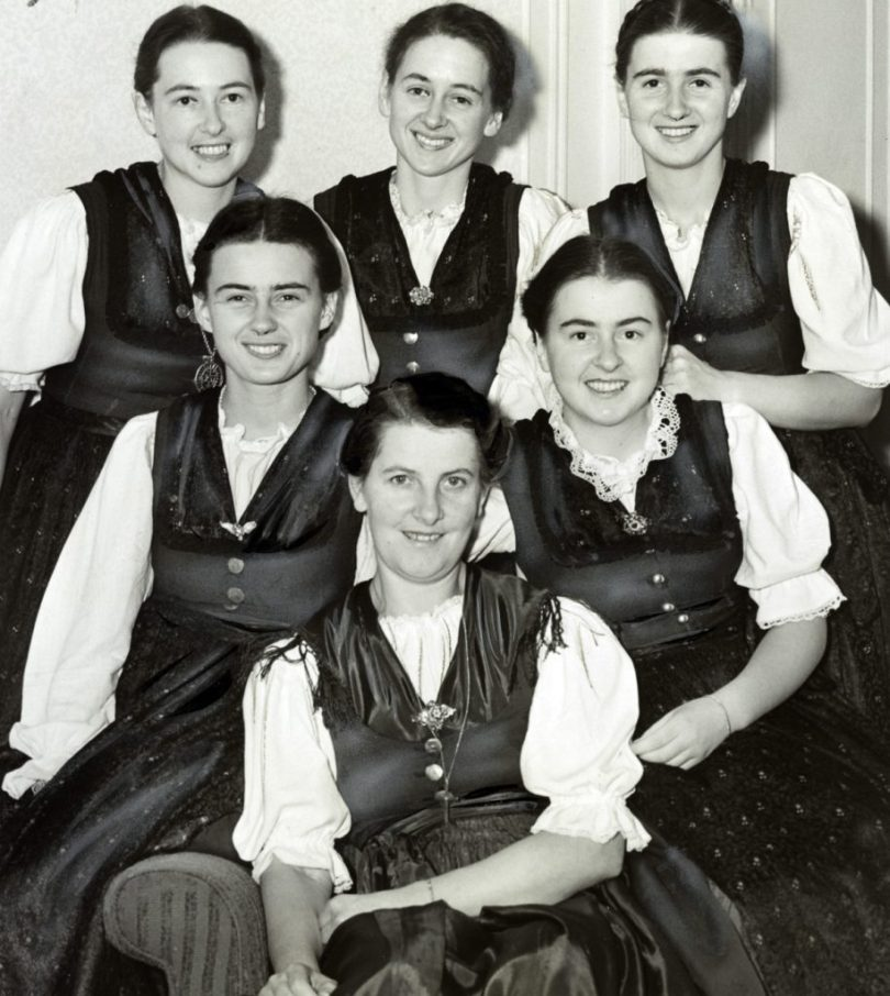 Photograph of Baroness Marie von Trapp (front) and five of her ten singing children. Dated 1940. (Photo by: Universal History Archive/UIG via Getty Images)