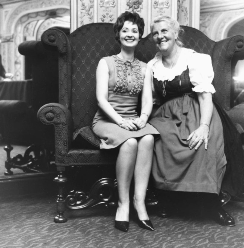 Portrait of the Baroness Maria Von Trapp (right) and actress Paula Hendrix, who is to star in the stage musical 'The Sound of Music' which is based on the lives of the Von Trapp family, London, April 27th 1965. (Photo by Evening Standard/Hulton Archive/Getty Images)