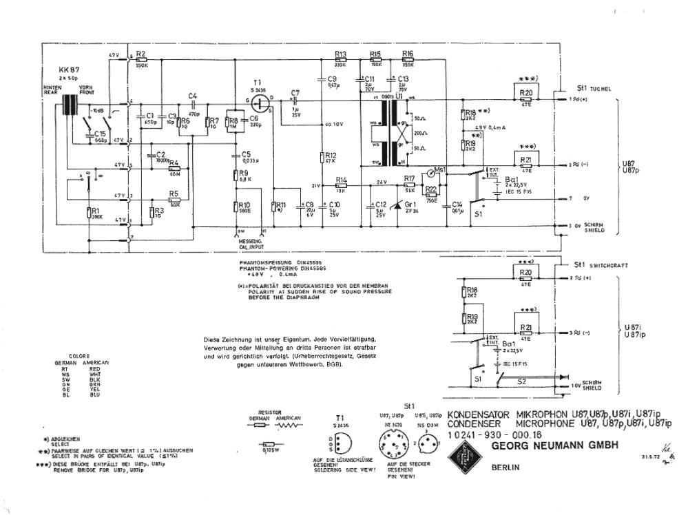 medium resolution of  u87 circuit schematic 1972