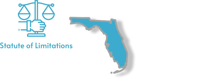 A stylized image of the state of Florida with the words statute of limitations written on it