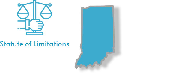 A stylized image of Indiana with the words statute of limitations written over top of it
