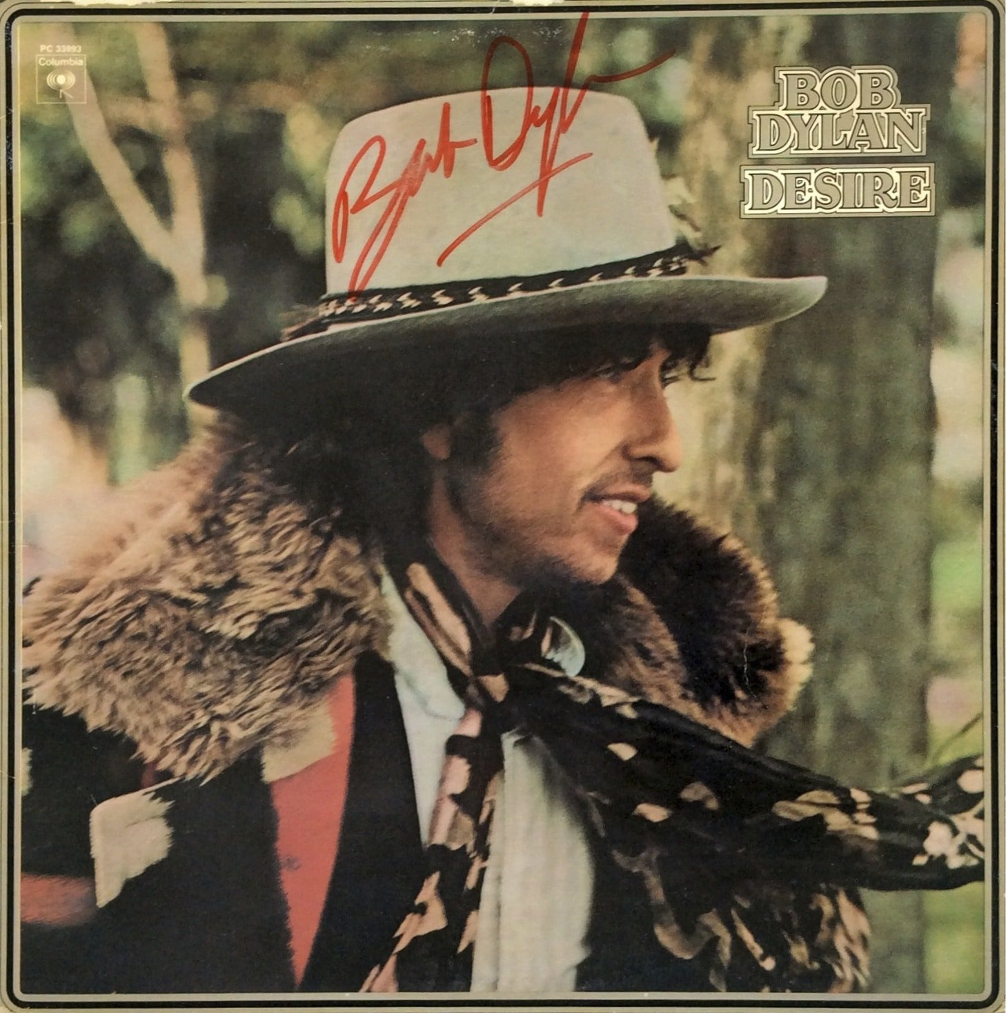 Bob Dylan  Autographed Desire Album Cover Flat with Lifetime Guarantee
