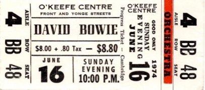 David Bowie –  1974 'Diamond Dogs' Concert Ticket Stub / Toronto