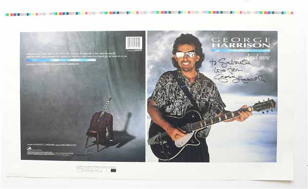 George Harrison  Beatles  Signed CLOUD NINE Album Cover Proof