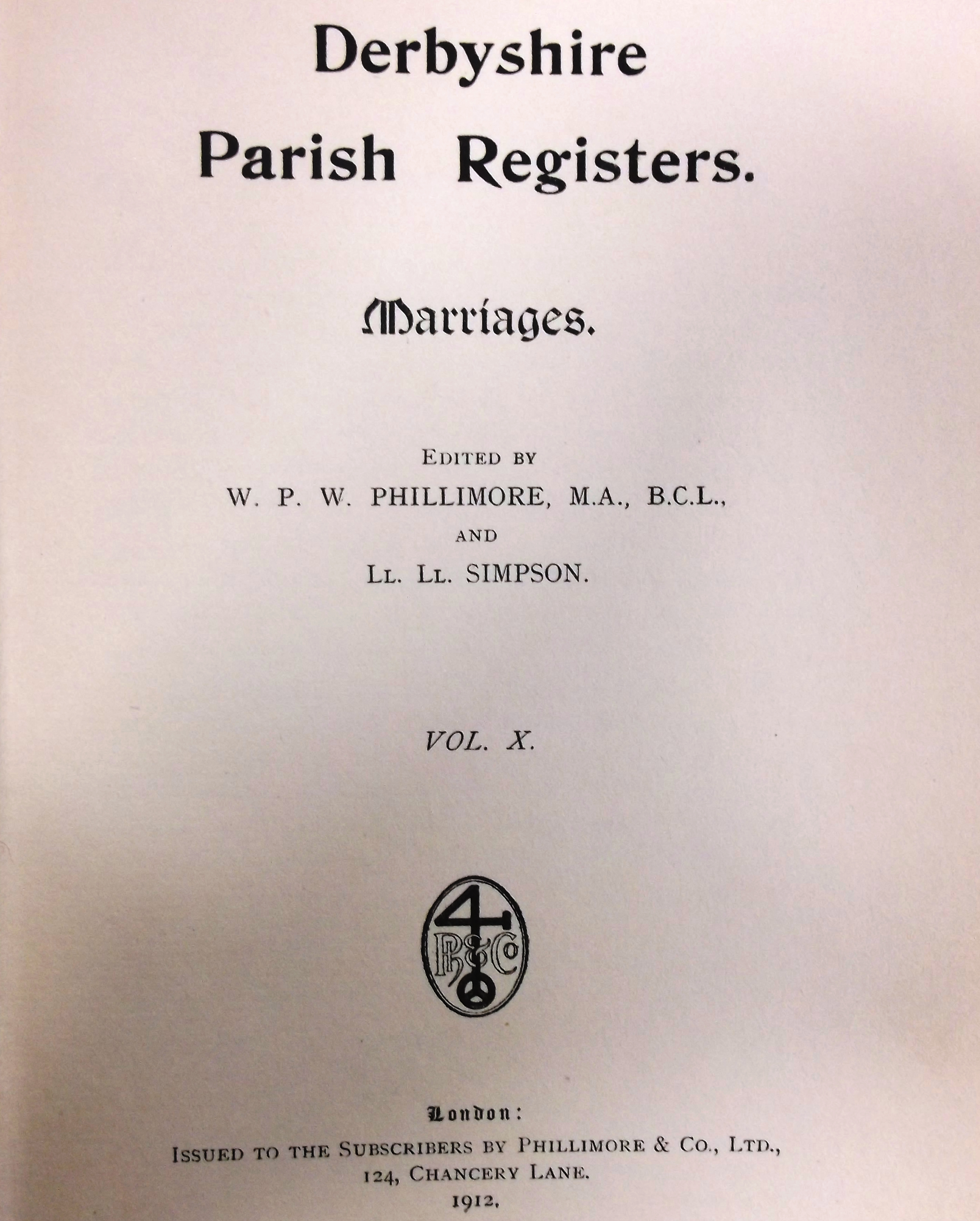 Derbyshire Phillimore Church Parish Records genealogy in pdf ebooks on disc