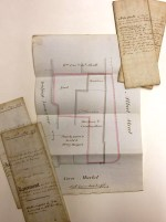 Returned to stores today after being scanned for a customer order - Papers relating to a property at the corner of the Corn Market and Albert Street, Derby, formerly used as a warehouse and counting house, 1484-1853