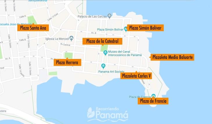 Mapa de Plazas del Casco Antiguo.