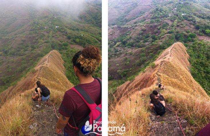 Iniciamos la bajada con la ayuda de una cuerda, lo mejor es bajar sentado en Los Picachos de Olá.