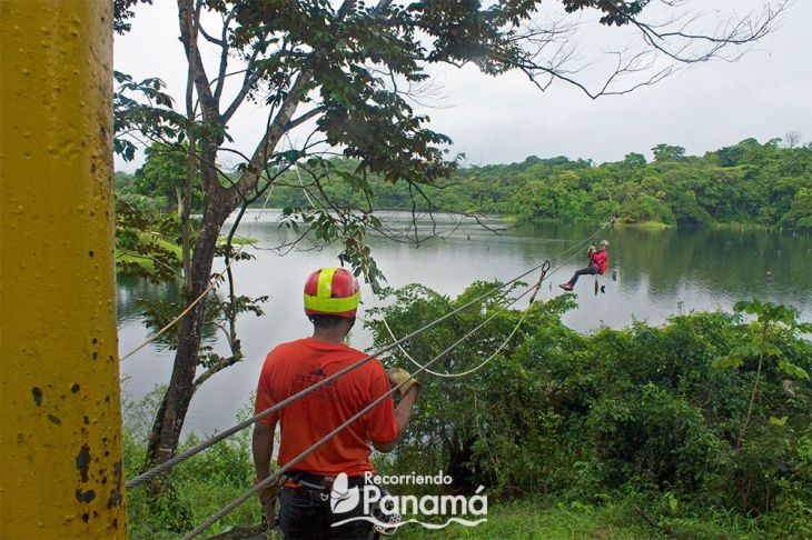 This was one of the ziplines that they towed me from. Canopy over Gatún Lake