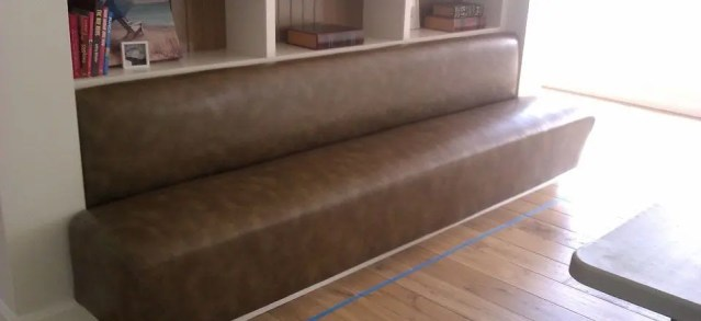 Custom padded bench with vinyl cover