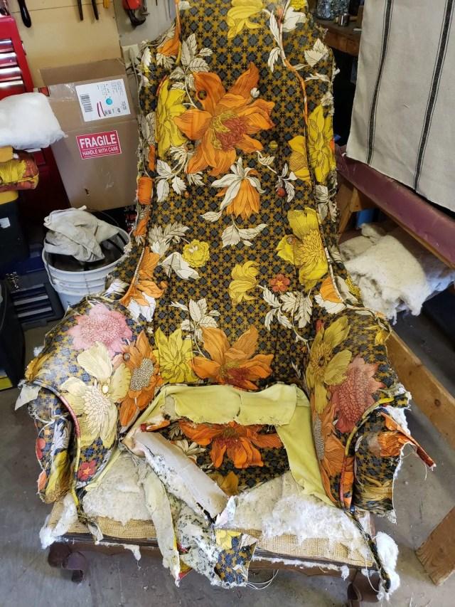 Recovered Treasures Furniture Restoration workshop work in progress