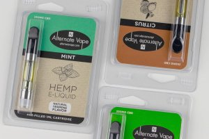 Recovery Relief's cbd vape pen cartridges shown in three flavors of mint, citrus, and natural
