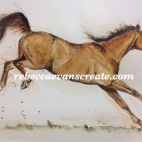 'Chico'chestnut horse in oil and sketch, ink with watercolour
