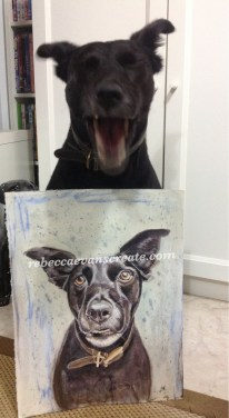Cassie Seems to think my painting is funny....